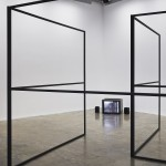 "Performer/ Audience/ Mirror, Dan Graham, 1977, video documentation, 17'45"" Detail of Taking a Line, Karl Burke, 2011, 8 units of 8ft x 8ft mild steel The Centre For Dying On Stage #1 Project Arts Centre, Dublin, 2014"