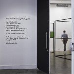 View of gallery entrance showing works by Meggy Rustamova and Karl Burke The Centre For Dying On Stage #1 Project Arts Centre, Dublin, 2014
