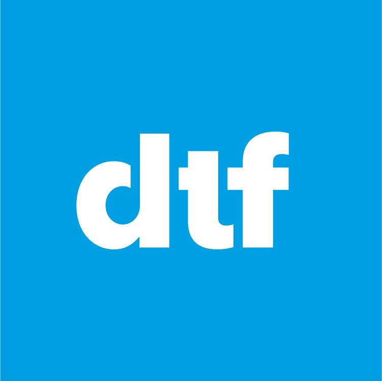 Dublin Theatre Festival 2019 Logo. DTF in white font on blue background
